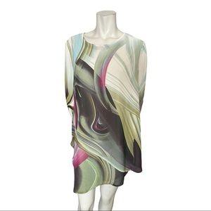 Amanda Collection Sheer Swirl Pattern Tunic Large